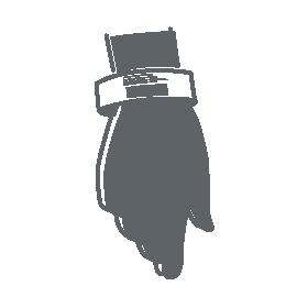 Skizzierte Hand mit Armilla-Patientenarmband